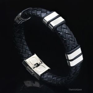 Other - Woven Black Leather & Stainless Bracelet